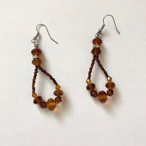 Brown and amber earrings